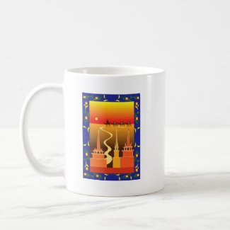 Camels beyond the city coffee mug