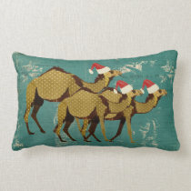 Camels Christmas Blue Lumbar Pillow
