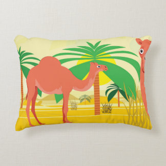 Camels illustration accent pillow