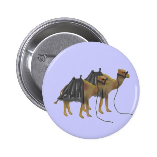 Camels in the desert 2 inch round button