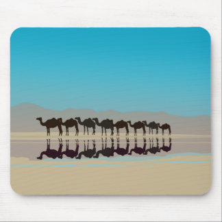 Camels in the desert mouse pad
