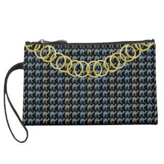Camels Luxury Sueded Baguette Black Suede Wristlet Wallet