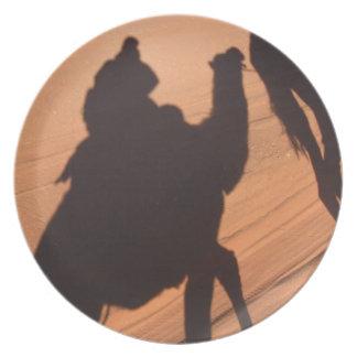 Camel's trail in Jordan desert Plates