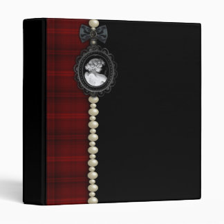Cameo and Plaid Goth Wedding Suite 3 Ring Binder