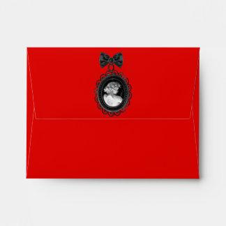 Cameo and Plaid Goth Wedding Suite Envelope
