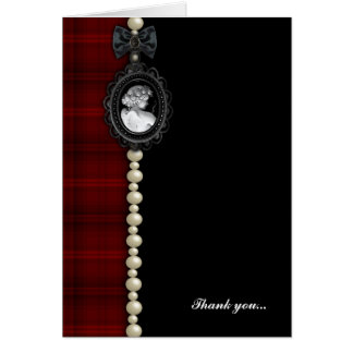 Cameo and Plaid Goth Wedding Thank You Card