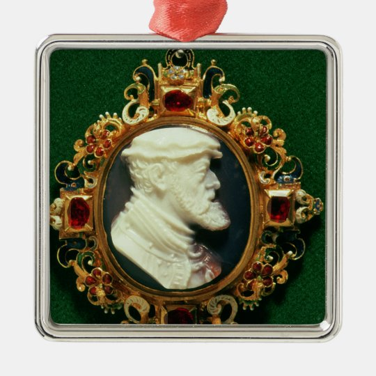 Cameo bearing the portrait of Charles I of Spain Metal Ornament