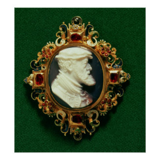 Cameo bearing the portrait of Charles I of Spain Poster