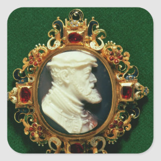 Cameo bearing the portrait of Charles I of Spain Square Sticker