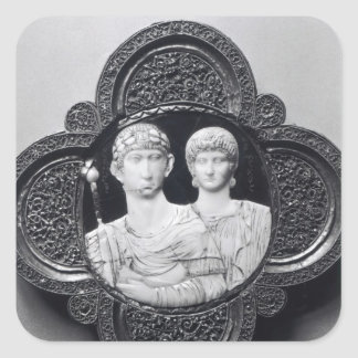 Cameo depicting Emperor Honorius and his wife Square Sticker
