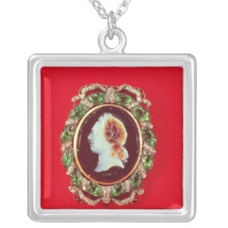 Cameo of Louis XV  from a bracelet worn Silver Plated Necklace