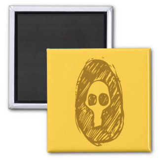 Cameo of Skulls 2 Inch Square Magnet