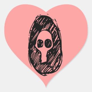 Cameo of Skulls Heart Sticker