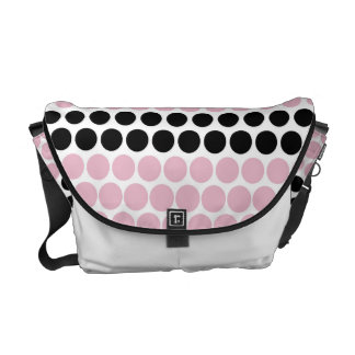 Cameo Pink and Black Polka Dot Courier Bag