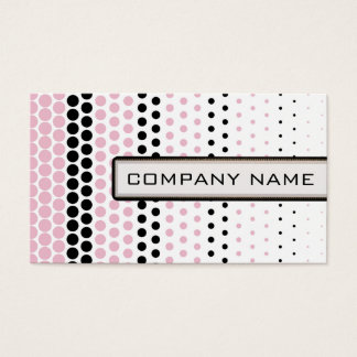 Cameo Pink and Black Polka Dot Professional Business Card