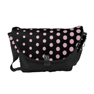 Cameo Pink Polka Dot Modern Black Courier Bag