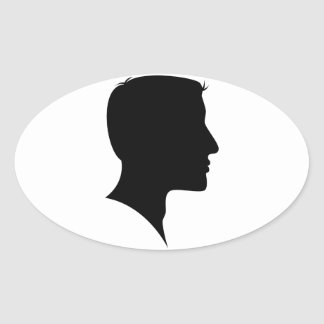 Cameo Silhouette Man Oval Sticker
