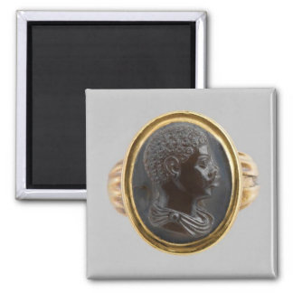 Cameo with Bust of an African Boy 2 Inch Square Magnet