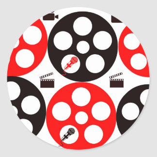 Camera action 1 red and black.jpg classic round sticker