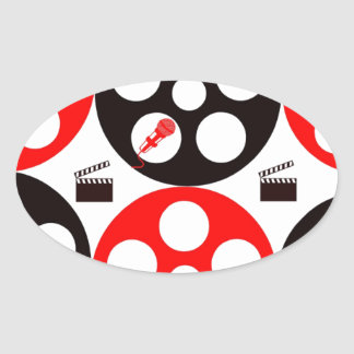 Camera action 1 red and black.jpg oval sticker