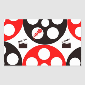Camera action 1 red and black.jpg rectangular sticker