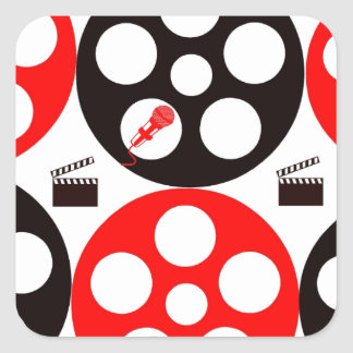 Camera action 1 red and black.jpg square sticker