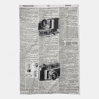 Camera Antique Newsprint Retro Film Camera Hand Towel