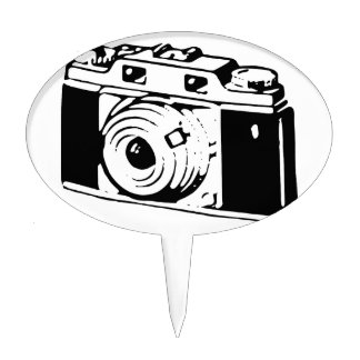 Camera, Black And White Cake Topper