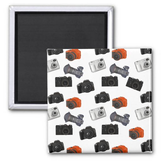 Camera Collage On White Magnets