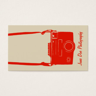 Camera Film Beige and Red Retro Style Photography Business Card