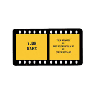 Camera Film Strip Yellow Name Gift Tag Bookplate at Zazzle