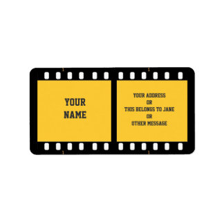 Camera Film Strip Yellow Name Gift Tag Bookplate Label