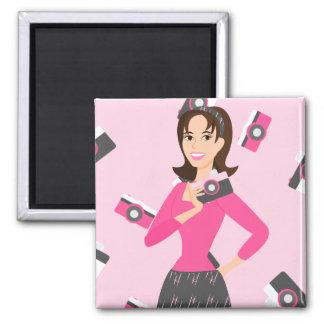 Camera Girl 2 Inch Square Magnet