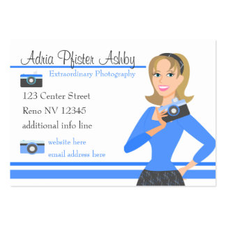 Camera Girl-Blue Business Card Template