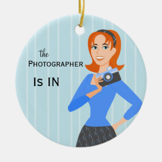 Camera Girl In/Out  Sign Ceramic Ornament