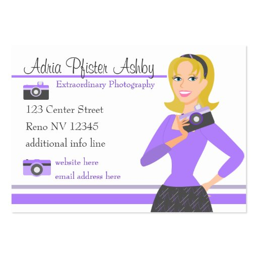 Camera Girl-Purple Business Card