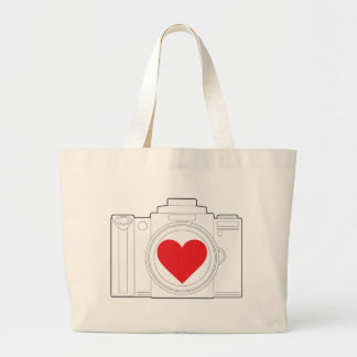 Camera Heart Tote Bags