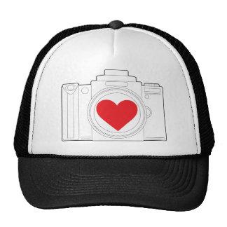 Camera Heart Mesh Hat