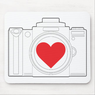 Camera Heart Mouse Pad
