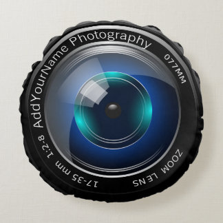 Camera Lens Make Your Own Custom Personalized Round Pillow