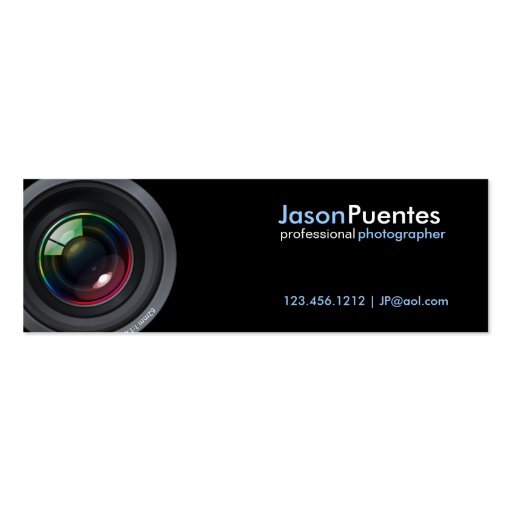 Camera Lens on Black Background Double Sided Mini Business