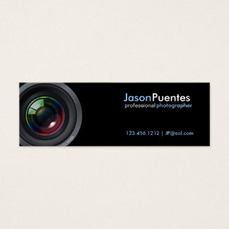 Camera Lens on Black Background Mini Business Card