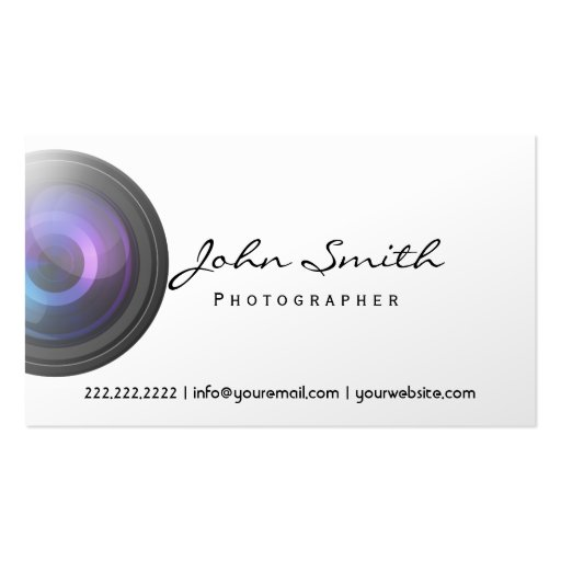 Camera Lens grapher Pearl White Business Card