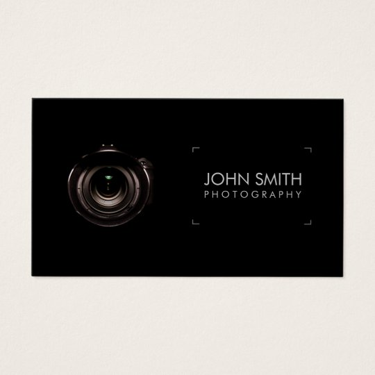 Camera Lens Viewfinder Black Photography Business Card | Zazzle