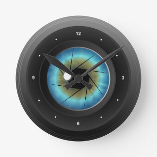Camera Lens with Blue Eye Medium Round Wall Clock