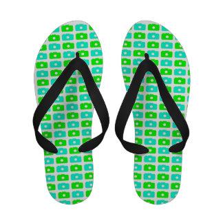 Camera Love (Green and Cyan) Flip Flops