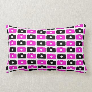 Camera Love Lumbar Pillow (Black and Pink)