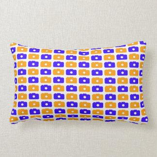 Camera Love Lumbar Pillow (Blue and Orange)