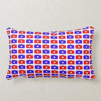 Camera Love Lumbar Pillow (Blue and Red)