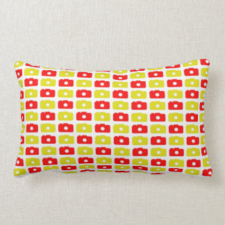 Camera Love Lumbar Pillow  (Red and Yellow)
